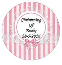 Christening Pink Personalised Wafer Paper Topper For Large Cake Various Sizes