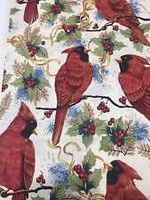 Christmas Cardinal Cotton Fabric Holly Berries Birds Cotton Quilt Sew BTY Vtg