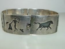 VINTAGE HECHO EN MEXICO STERLING BULL FIGHTING THEME BRACELET SIGNED A.T.H. & SM