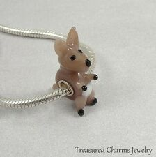 Kangaroo Lampwork Glass Large Hole Bead Charm fits European Bracelets