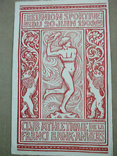 rare progamme art nouveau club athletique franci bank anvers 1909
