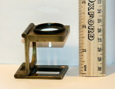 BRASS 2 IN X 1.75 IN , FOLDING  MICROSCOPE MAGNIFYING GLASS, LENS GOOD,