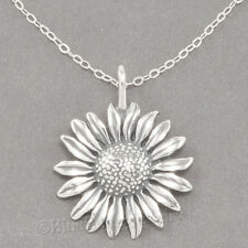 "SUNFLOWER 925 Charm Garden sun FLOWER Pendant STERLING SILVER 18"" chain Necklace"