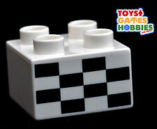*NEW* LEGO DUPLO Checkered Race Flag Printed Brick Piece Cars Track Truck Planes