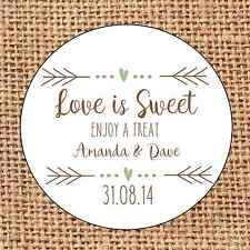 Wedding 24 favour stickers Love is sweet personalised  rustic shabby chic d1