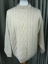 Aran Hand Knitted Jumper by Highland Home Industries Made in Scotland - Large
