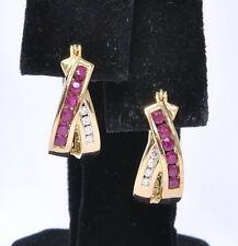 Ladies 14k Yellow Gold 3/4 Ctgw Ruby & Diamond Hoop Huggie Earrings