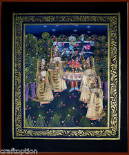 Original Radha Krishna Miniature Indian painting on silk cloth natural colors