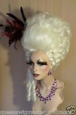 Drag Queen Wig Big Tall Marie Antoinette White Blonde Up Do Tail with Tendrils