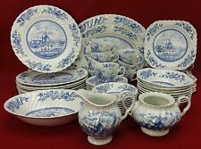 JOHNSON BROTHERS china TULIP TIME BLUE England 53-piece SET SERVICE for Eight 8