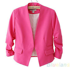 5 Colors Womens Casual Style Candy Color Solid Slim Tops Lady Blazer Jacket BC1U