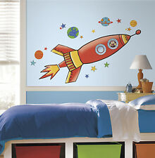 ROCKETSHIP wall stickers MURAL 4 decals rocket outer space blast off decor 53""