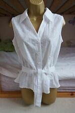 Womens Ladies Sleeveless Shirt Blouse Top White Fit Belted Size 14