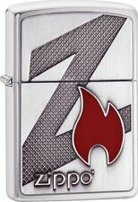 "Zippo ""Z Flame & Logo"" Emblem Lighter, Brushed Chrome, Full Size, 29104"