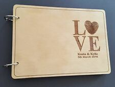 Personalized Wooden Wedding Guest Book, A5 size, varnished