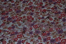"100% Cotton Blue Chambray with Designer Floral Print 58"" Wide Fabric by the Yard"