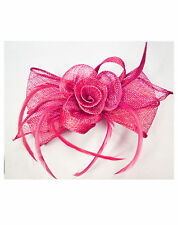 Floral Flower Feather Fascinator Sinamay Bow Shaped Pin Clip Wedding Race Ascot
