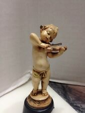 Vintage Child Nymph/Cherub Figurine on Pedestal w/ Violin Depositato Italy