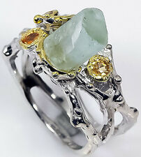 Handmade Jewelry Natural Aquamarine 925 Sterling Silver Ring Size 7.75