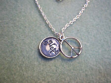 "17 inch Silver Plated Cable Chain Necklace w/ Blue DUEL ""Hope"" PEACE Charm J-19"
