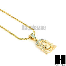 """ICED OUT 14K GOLD PLATED CZ JESUS FACE PENDANT w/ 24"""" ROPE CHAIN NECKLACE KN008"""