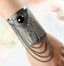 Silver Tassel Chain Bangle Cuff Statement Bracelet UK Shop