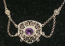 ANTIQUE NORWEGIAN ART NOUVEAU 830 SILVER AMETHYST LAVALIER FILIGREE NECKLACE