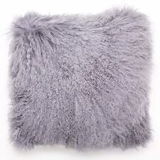 Mongolian Curly Lamb Real Fur Pillow w/Insert - Steel Blue Gray - 20 x 20 Square