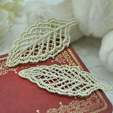 New 10PCs  Leaf Patches Lace Applique Embroidered Trims Sewing DIY Crafts Golden