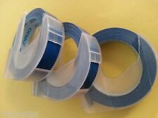 Dymo 3D embossing tape labels THREE rolls x 9mm x 3m in BLUE *Great Sales