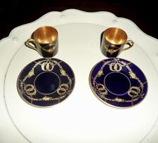 Rosenthal Selb-Bavaria Antique Cobalt & Gold Demitasse Cup & Saucer-Pair of Two