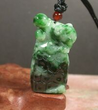 Certified Green 100% Natural A Jade jadeite pendant Frog Toad Lotus 387800 am