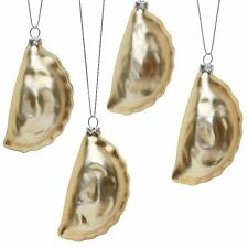 Polish Pierogi Blown Glass Christmas Holiday Tree Ornaments - Set of 4