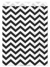 "100 Flat Merchandise Paper Bags: 5 x 7"", Black Chevron Stripes on White"