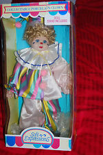 "Collectable Hand Crafted 19"" Porcelain Clown Doll - Rare & OOP Soft Expressions"