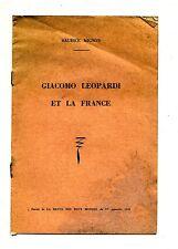 Maurice Mignon#GIOCOMO LEOPARDI ET LA FRANCE#Extrait#1 Novembre 1959