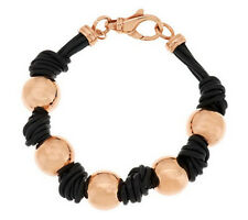 "Bronzo Italia Rose Bronze Multi Strand Knotted Leather Bead 7-1/4"" Bracelet QVC"