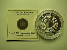 2013 Proof $20 Holiday Wreath w/ Swarovski Crystals Canada COIN&COA ONLY .9999 s