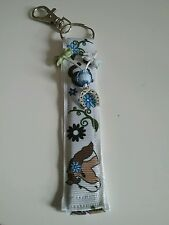 Horse themed keyring white gg ribbon with brown horse shoe charm pony riding