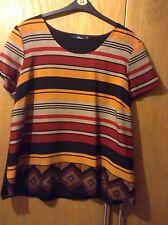 Bon Marche Aztec Style Short Sleeve Blouse Black, Brown, Orange, Red Size 22