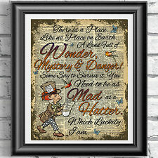 MAD HATTER Alice in Wonderland vintage wall decor picture poster ART DICTIONARY