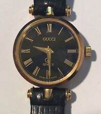 Womens Gucci 2000L Swiss 18K Gold Plated Watch Stacked Black Face Original Box