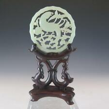EXCEPTIONALLY FINE ANTIQUE CHINESE JADE / NEPHRITE PENDANT / PLAQUE WITH STAND