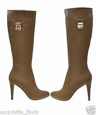 New VERSACE Olive Green Leather Hidden Platform Boots 39 - 9