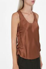 NWT Helmut Lang Silk Side Tie Ruched Racerback Top Tank Autumn Copper L