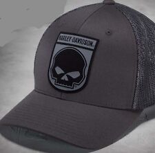HARLEY DAVIDSON Mens Rubber Willie G Skull Mesh Back Flexfit Baseball cap(S) hat