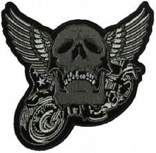 MOTORCYCLE WINGED SKULL EMBROIDERED BIKER PATCH
