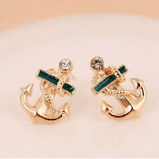 gold green anchor rope Stud Earrings girls Jewellery free gift bag christmas UK