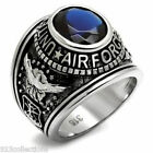 Stainless Steel United States Air Force Military Blue Montana Men Ring Size 7-14