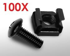 100X Black Durable M6 Rack Mount Cage Nuts Screws w/Washers Square Clips Server